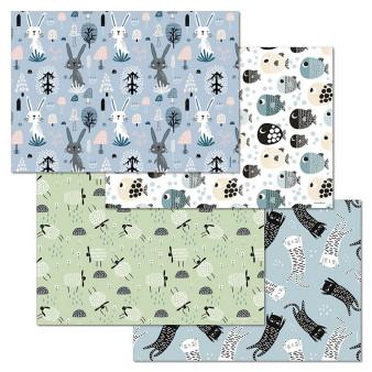 Papiertischset ANIMAL FARM Mehrfachblock - 4 Sujets à 12 Blatt