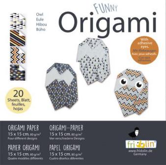 Faltpapier Origami Funny Eulen 15x15