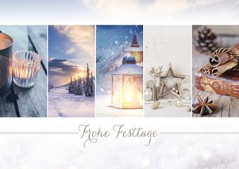 Weihnachtskarte 8914 mit Collage blau-braun