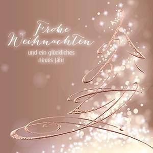 Weihnachtskarte 8916 Baum Roségold