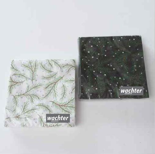 Servietten Simple schw grün weiss 1/2 sort.