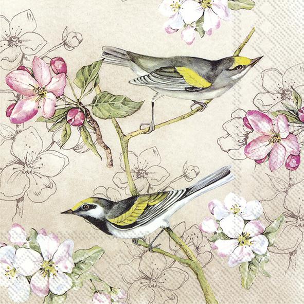 Lunch-Servietten BIRDS SYMPHONY cream