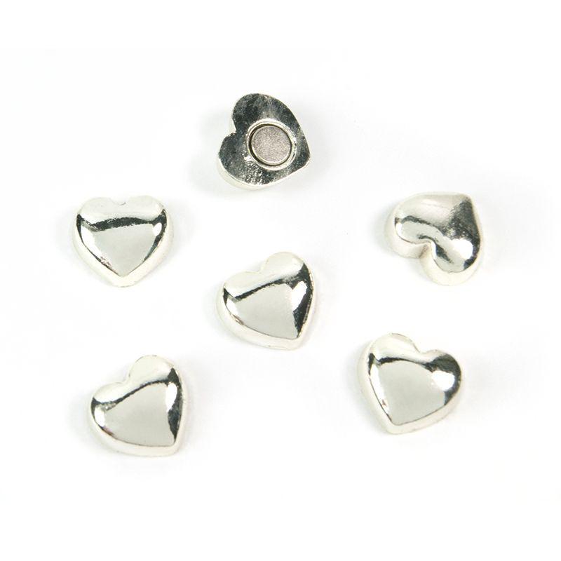 Magnete SWEETHEART 6er Set silber