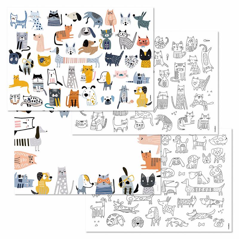 Papiertischset CATS&DOGS 4 Sujets /12 Blatt