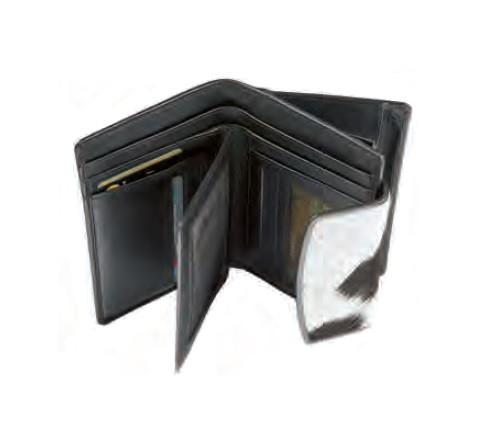 Portemonnaie Maverick Leder/Fell weiss/schwarz