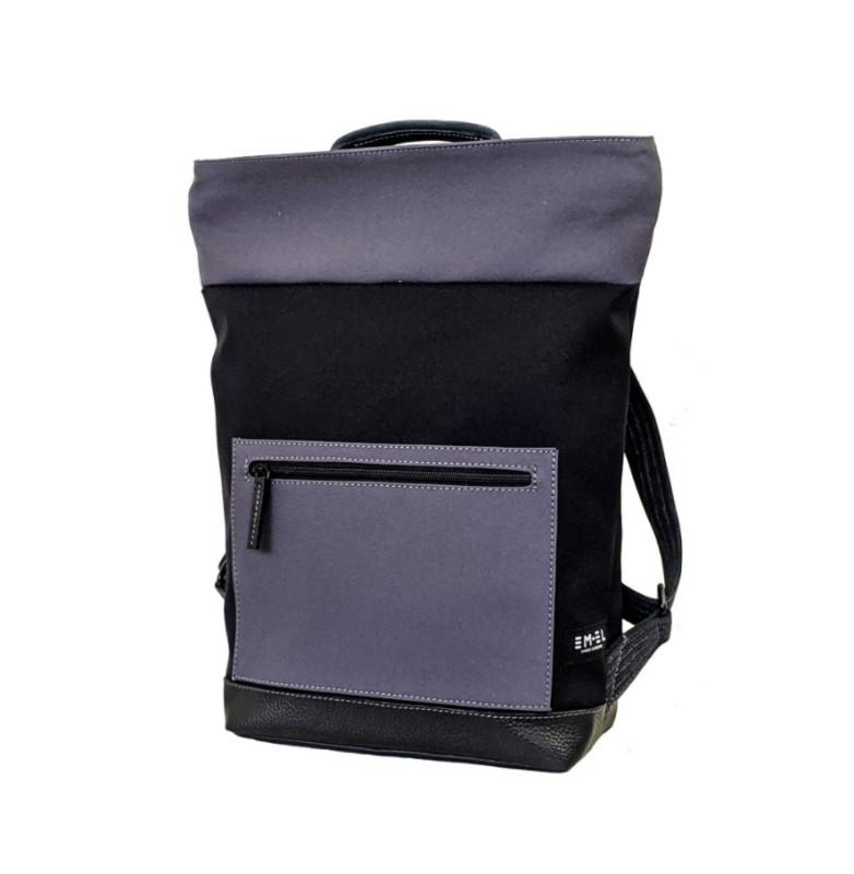 Rucksack Malibu 6 Leder/Stoff schwarz