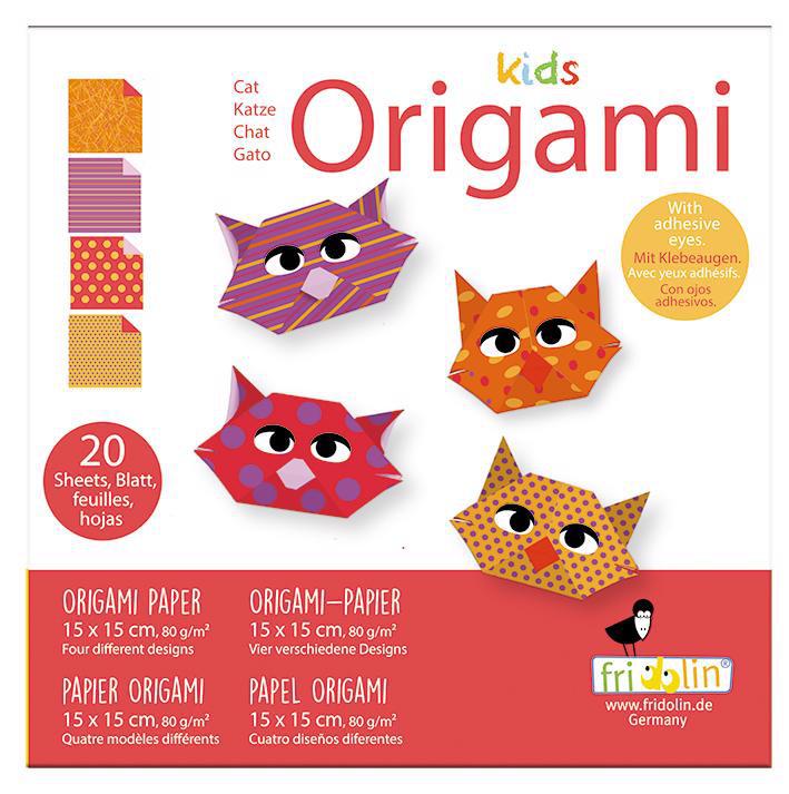 Faltpap. Origami Kids Katze Face 15x15