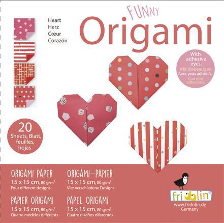 Faltpapier Origami Funny Herzen 15x15