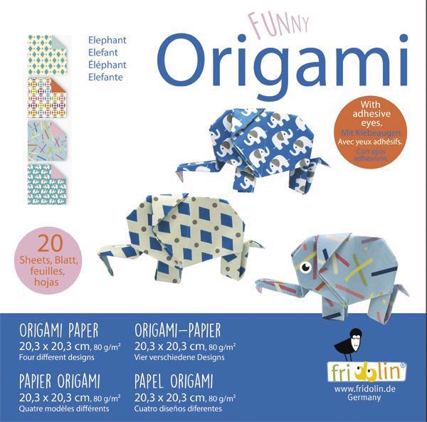 Faltpapier Origami Funny Elefant 20x20