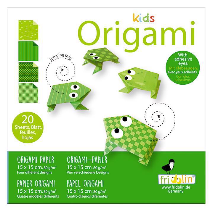 Faltpapier Origami Funny Frosch 15x15