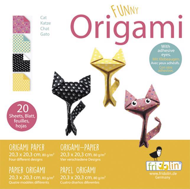Faltpapier Origami Funny Katzen 20x20