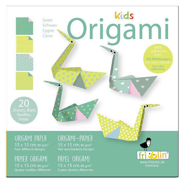 Faltpapier Origami Schwan 15x15