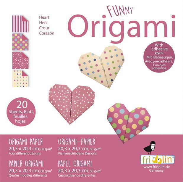 Faltpapier Origami Herzen 20x20