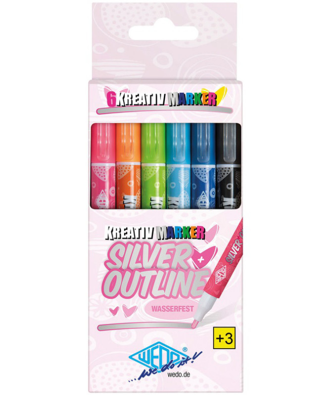 OUTLINE-MARKER SILVER/Set à 6