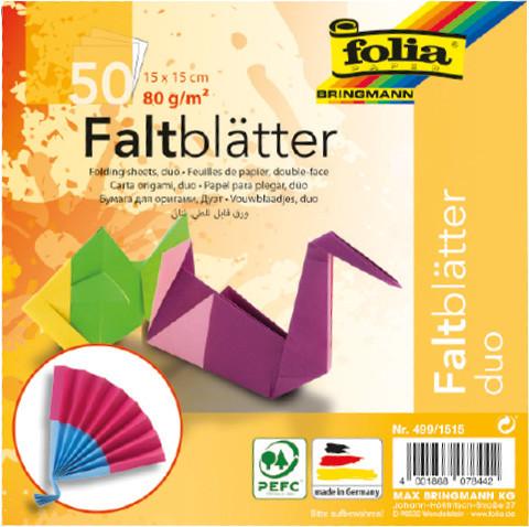FALTPAPIER ORIGAMI DUO 15x15/50BL