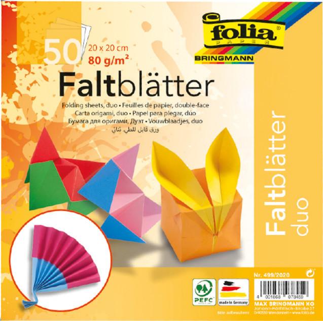 FALTPAPIER ORIGAMI DUO 20x20/50BLT