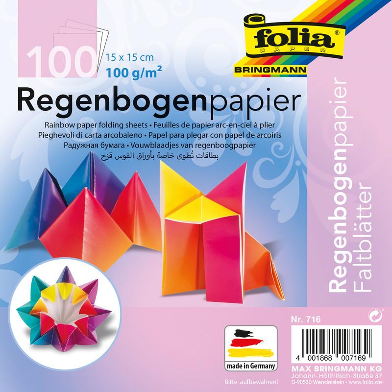 FALTPAPIER REGENBOGEN 15x15/100BLT