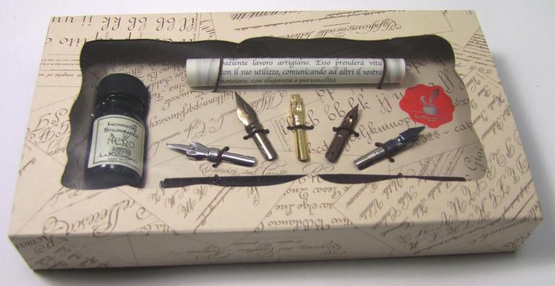 Kalligraphie-Set Holzfeder/Tinte, 5 Federn