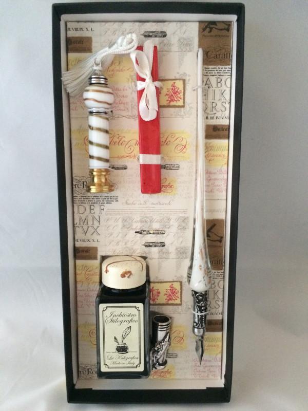 Kalligraphie-Set Glasfederhalter Tinte Sigellack