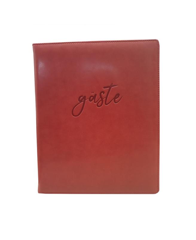 Gästebuch 25x21cm 96 Blt,Vollrind, bordeaux