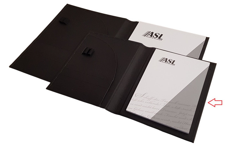 Schreibmappe A5 Apple Kleder, schwarz
