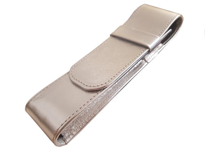 Füller Stecketui 2tlg Leder, Silber