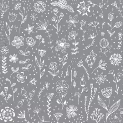 Serviette 33cm Pure Flower grey