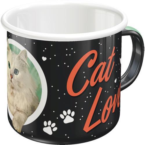 Tasse Cat Lover Black Enamel Mug, 8x8, 360ml