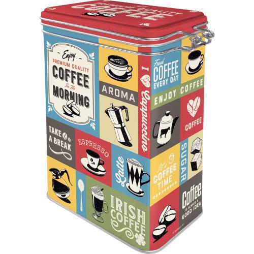 Clip Top Box Coffee Collage, 11x18x8