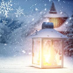 Weihnachtskarte 8163 Laternen im Schnee