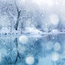 Weihnachtskarte 8164 Schneefall am See