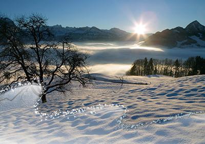 Weihnachtskarte 8645 Sonne über Nebelmeer