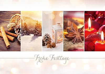 Weihnachtskarte 8911 mit Collage rot-braun