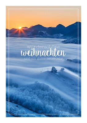 Weihnachtskarte 8913 Sonnenuntergang unter Hauenstein