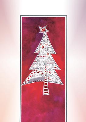 Weihnachtskarte 8918 rot mit Weihnachtsbaum