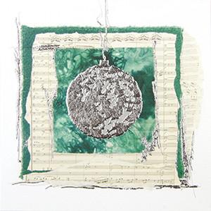 Weihnachtskarte 8920 Kunst grün mit Kugel
