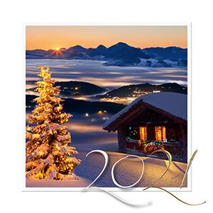 Weihnachtskarte 8925 Landschaft bei Nacht