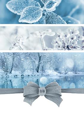 Weihnachtskarte 8926 Collage blau mit Masche