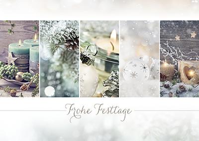 Weihnachtskarte 8931 Collage türkis-braun