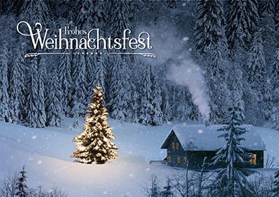 Weihnachtskarte 8932 Hütte mit Weihnachtsbaum