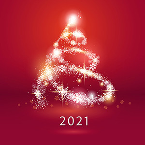 Weihnachtskarte 8934 rot mit Lichterbaum