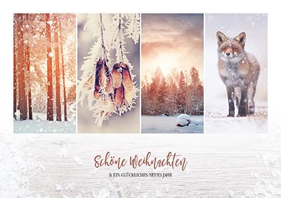 Weihnachtskarte 8936 Collage mit Fuchs
