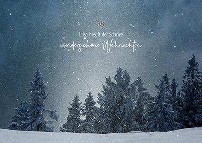 Weihnachtskarte 8938 Wald und Schnee bei Nacht