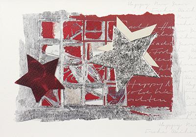 Weihnachtskarte 8944 Kunst-Sterne rot-silber