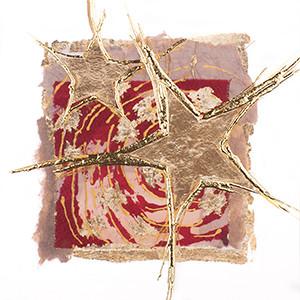 Weihnachtskarte 8945 rot mit Gold-Sternen
