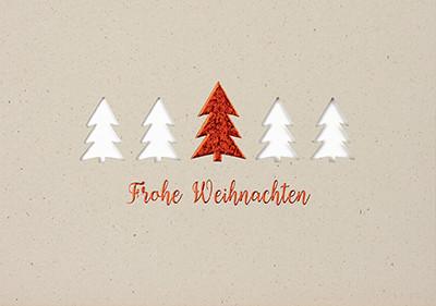 Weihnachtskarte 8948 mit Stanzung Tannenbäume