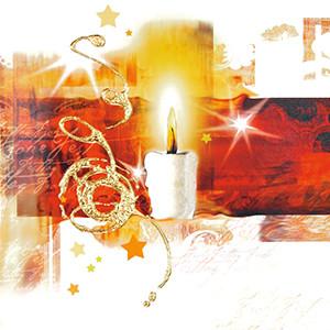 Weihnachtskarte 8205 rot mit Kerze