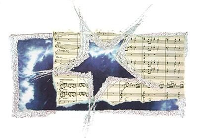 Weihnachtskarte 8221 Kunst blau mit Stern