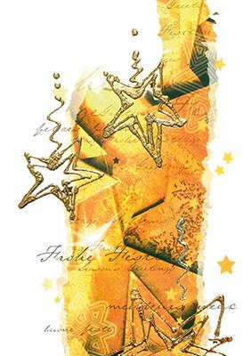 Weihnachtskarte 8248 Kunst Sterne gold