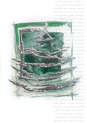 Weihnachtskarte 8250 Kunst Silberbaum